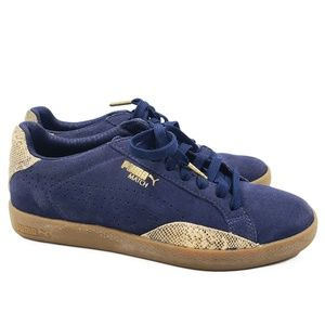 Puma Match Blue Gold Tan Suede Snakeskin Shoes
